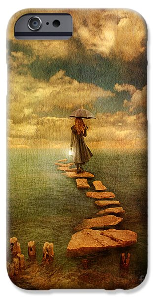 Woman Crossing the Sea on Stepping Stones iPhone Case by Jill Battaglia