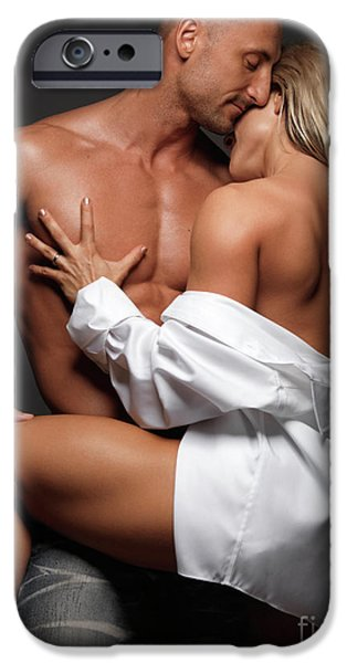 Women Together iPhone Cases - Woman Embracing a Muscular Man iPhone Case by Oleksiy Maksymenko