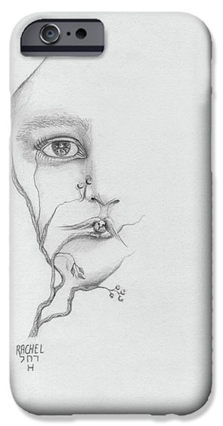 Merging Paintings iPhone Cases - Woman face growing out of a tree branch black and white surrealistic fantasy  iPhone Case by Rachel Hershkovitz