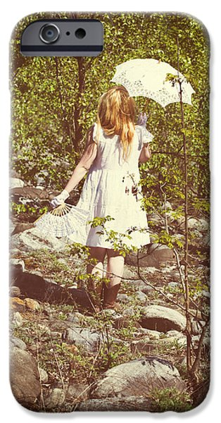 Young Photographs iPhone Cases - Woman In A Forest iPhone Case by Joana Kruse