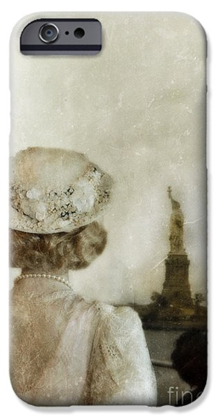 Statue Portrait iPhone Cases - Woman in Hat Viewing the Statue of Liberty  iPhone Case by Jill Battaglia