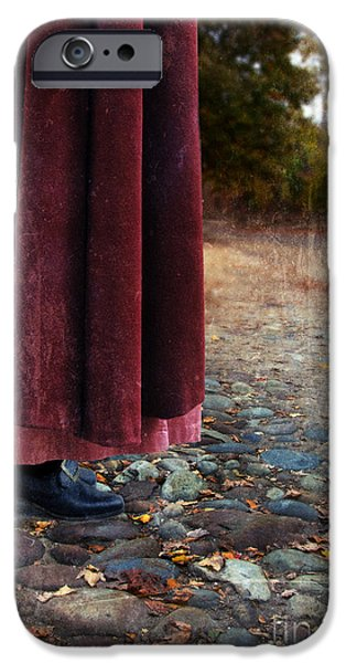 Woman in Vintage Clothing on Cobbled Street iPhone Case by Jill Battaglia