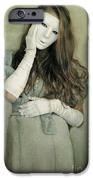 Woman in White Mask Wearing 1930s Dress iPhone Case by Jill Battaglia