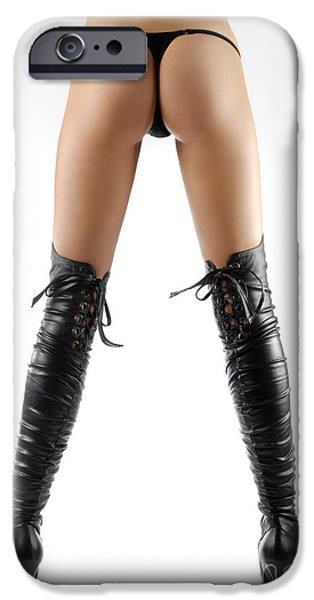 Seductive Photographs iPhone Cases - Woman Legs in Black Sexy Thigh High Stiletto Boots iPhone Case by Oleksiy Maksymenko