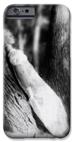 woman on a trunk iPhone Case by Joana Kruse