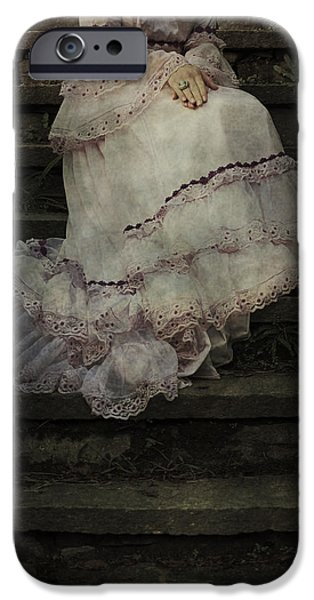 Edwardian iPhone Cases - Woman On Steps iPhone Case by Joana Kruse