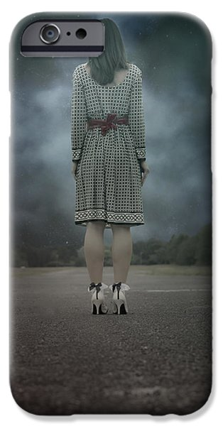 Creepy iPhone Cases - Woman On Street iPhone Case by Joana Kruse