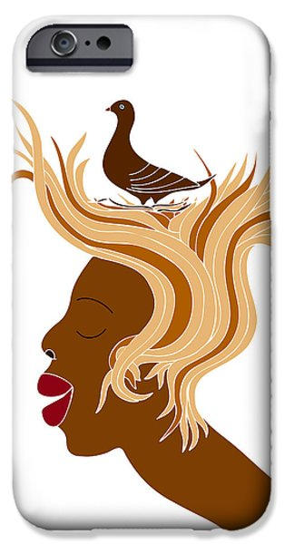 Psychology iPhone Cases - Woman with bird iPhone Case by Frank Tschakert