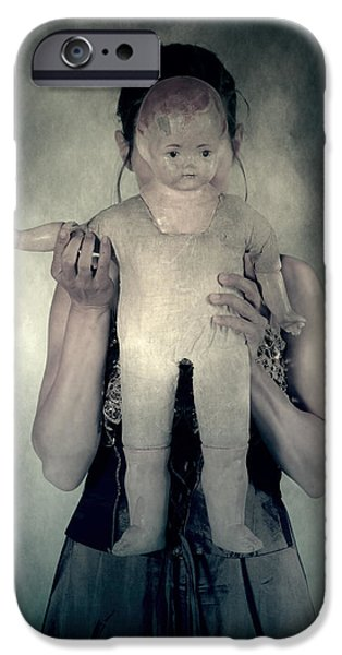 Eerie iPhone Cases - Woman With Doll iPhone Case by Joana Kruse