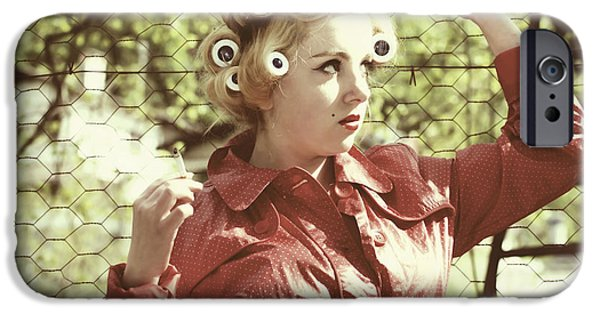 Young iPhone Cases - Woman With Rain Coat And Curlers iPhone Case by Joana Kruse