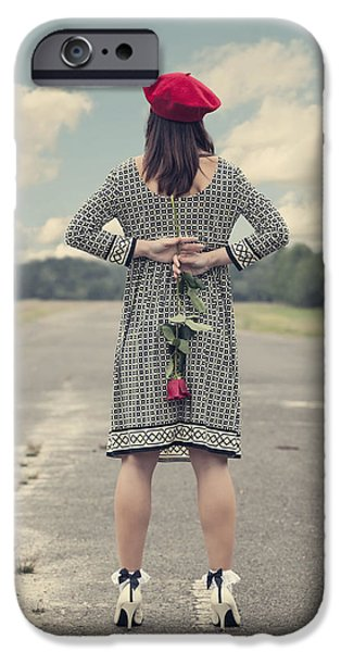 Asphalt iPhone Cases - Woman With Red Rose iPhone Case by Joana Kruse