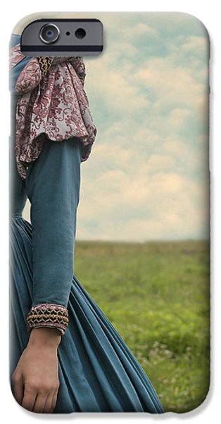 woman with renaissance dress iPhone Case by Joana Kruse