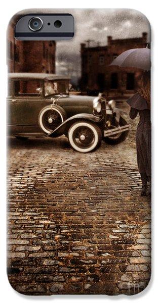 Woman with Umbrella by Vintage Car iPhone Case by Jill Battaglia