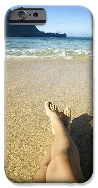 Youthful iPhone Cases - Womans legs relaxing iPhone Case by Kicka Witte - Printscapes