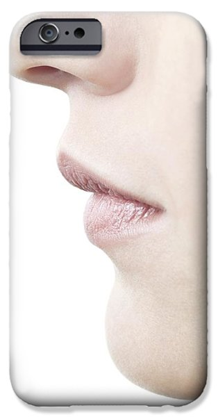 Chin Up Photographs iPhone Cases - Womans Nose And Mouth iPhone Case by