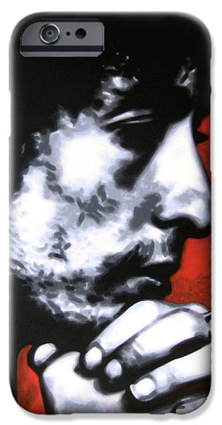 Ludzska Paintings iPhone Cases - Wondering if shed changed at all if her hair was still red iPhone Case by Luis Ludzska