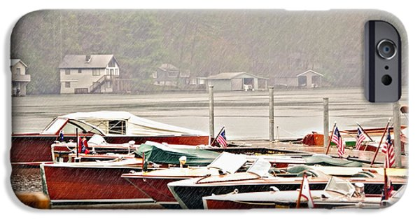 Susan Leggett iPhone Cases - Wood Boats in the Rain iPhone Case by Susan Leggett