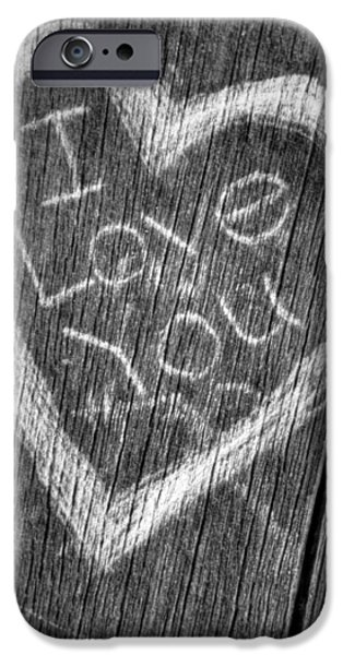 Vandalize Photographs iPhone Cases - Wood Carving I Love You iPhone Case by Connie Cooper-Edwards