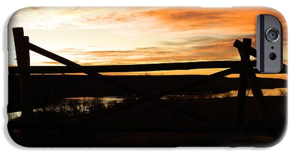 Fort Collins iPhone Cases - Wood Fence Sunrise iPhone Case by Sara  Mayer