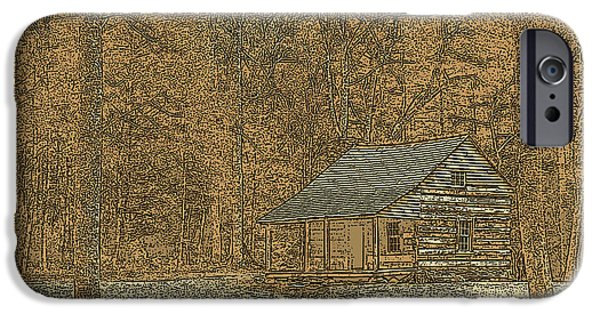 Tennessee Historic Site iPhone Cases - Woodcut Cabin iPhone Case by Jim Finch