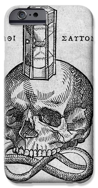 Symbology iPhone Cases - Woodcut Of Skull, Snake And Hourglass iPhone Case by Middle Temple Library