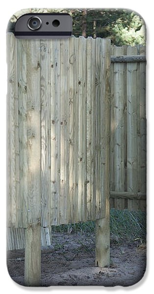 Wooden Beach Dressing Rooms iPhone Case by Jaak Nilson