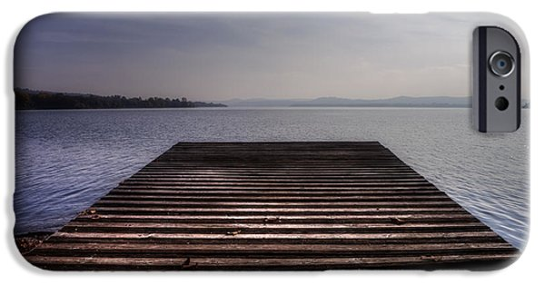 Docked Boat iPhone Cases - Wooden Bridge iPhone Case by Joana Kruse