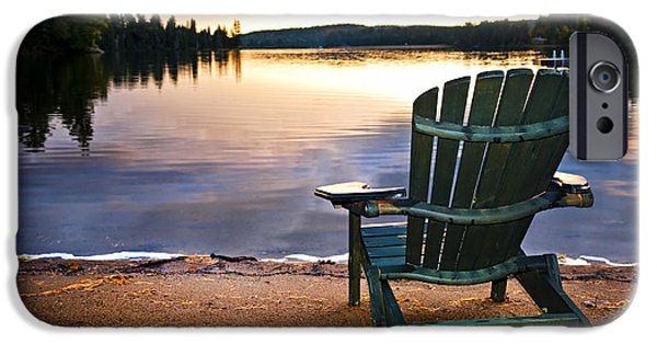 Algonquin iPhone Cases - Wooden chair at sunset on beach iPhone Case by Elena Elisseeva