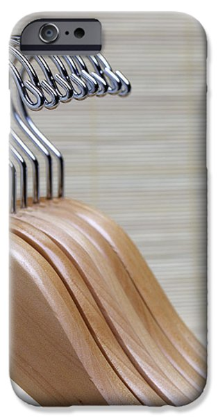 Wooden Clothes Hangers iPhone Case by Skip Nall