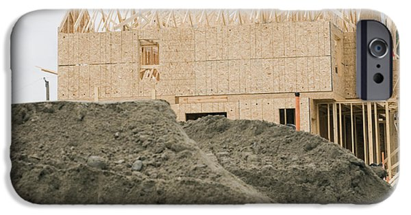 Building Site iPhone Cases - Wooden Framework of Building iPhone Case by Shannon Fagan