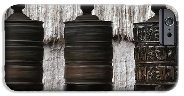 Tibetan Buddhism iPhone Cases - Wooden Prayer Wheels iPhone Case by Sean White