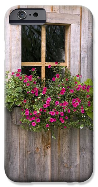 Wooden Shed With A Flower Box Under The iPhone Case by Michael Interisano
