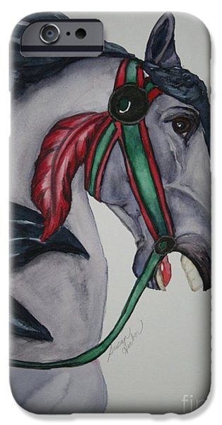 Carousel Horse Paintings iPhone Cases - Wooden Warrior I iPhone Case by Susan Herber