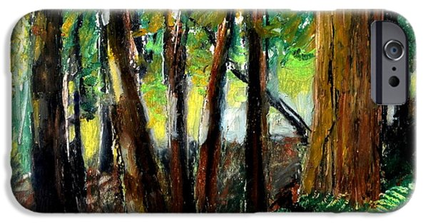 Tracks Pastels iPhone Cases - Woodland Trail iPhone Case by Michelle Calkins