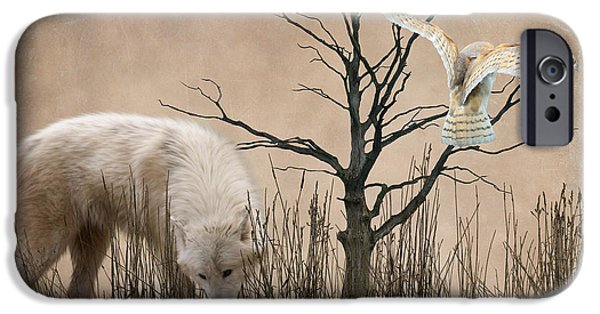 Wolf Digital Art iPhone Cases - Woodland Wolf iPhone Case by Sharon Lisa Clarke