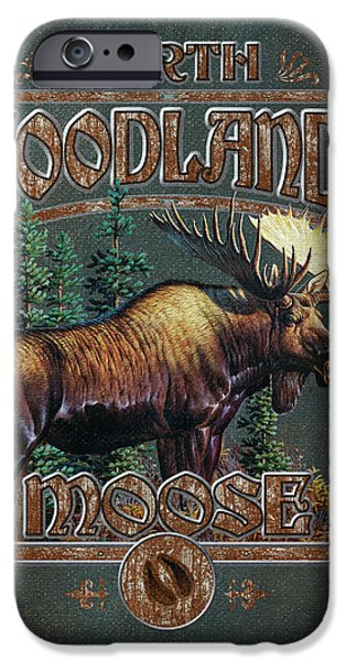 Pine Paintings iPhone Cases - Woodlands Moose iPhone Case by JQ Licensing