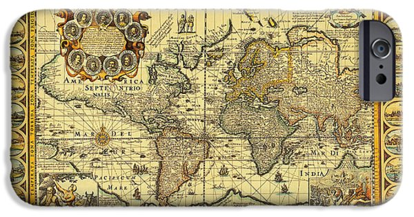 Seventeenth Century iPhone Cases - World Map 1626 iPhone Case by Photo Researchers