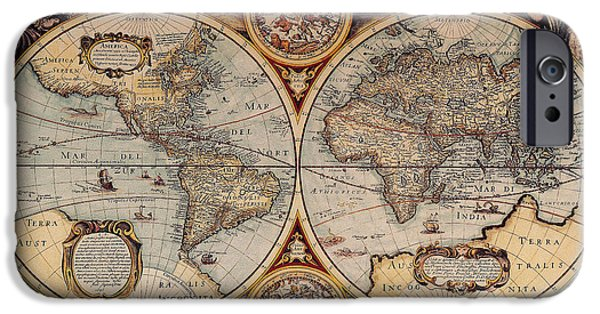 Science Collection - iPhone Cases - World Map 1636 iPhone Case by Photo Researchers