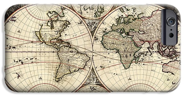 Zeus iPhone Cases - World Map, 1690 iPhone Case by Photo Researchers