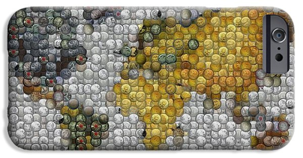 Coins Mixed Media iPhone Cases - World Map Coin Mosaic iPhone Case by Paul Van Scott