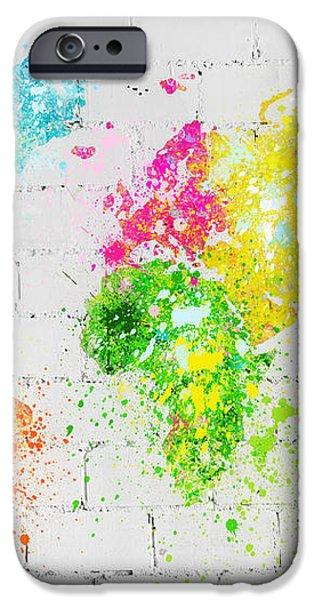 world map painting on brick wall iPhone Case by Setsiri Silapasuwanchai