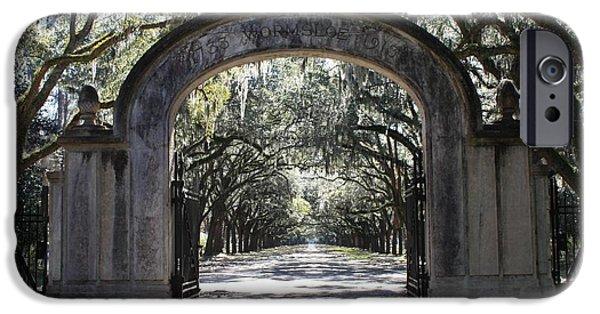 Savannah iPhone Cases - Wormsloe Plantation Gate iPhone Case by Carol Groenen