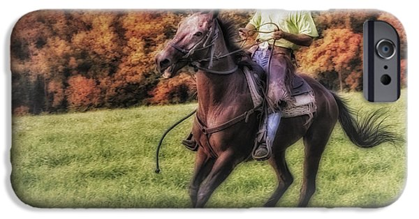 Autumn iPhone Cases - Wrangler and Horse iPhone Case by Susan Candelario
