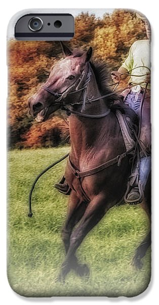Wrangler and Horse iPhone Case by Susan Candelario