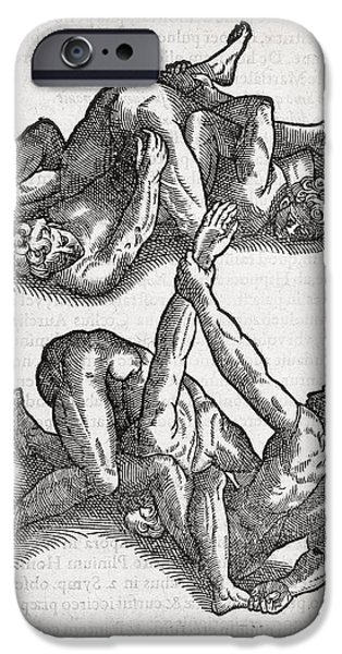 Wrestling Moves, 16th Century Artwork iPhone Case by Middle Temple Library