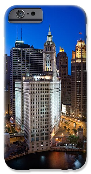 Wrigley Photographs iPhone Cases - Wrigley Building Night iPhone Case by Steve Gadomski