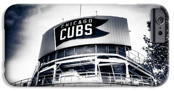 Chicago Cubs iPhone Cases - Wrigley Field Bleachers in Black and White iPhone Case by Anthony Doudt
