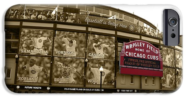 Chicago Cubs iPhone Cases - Wrigley Field in Sepia iPhone Case by David Bearden