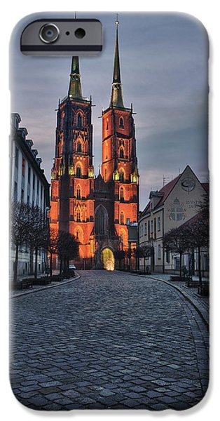 Winter iPhone Cases - Wroclaw Cathedral iPhone Case by Sebastian Musial