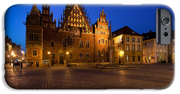 Night Photography iPhone Cases - Wroclaw Town Hall At Night iPhone Case by Sebastian Musial